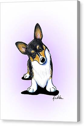 Curious Tricolor Corgi Canvas Print