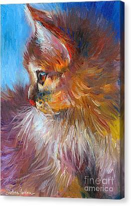 Fluffy Canvas Print - Curious Tubby Kitten Painting by Svetlana Novikova