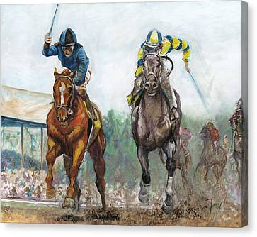 Curlin - Comin Home At The Preakness Canvas Print by Leisa Temple