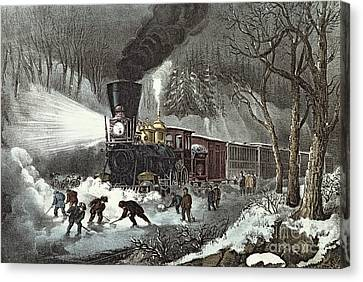 Currier And Ives Canvas Print by American Railroad Scene