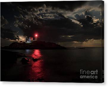 Curtain Call At Nubble Lighthouse Canvas Print by Scott Thorp