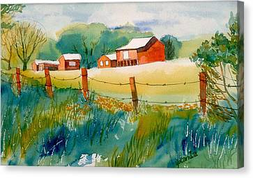 Canvas Print featuring the painting Curtis Farm In Summer by Yolanda Koh