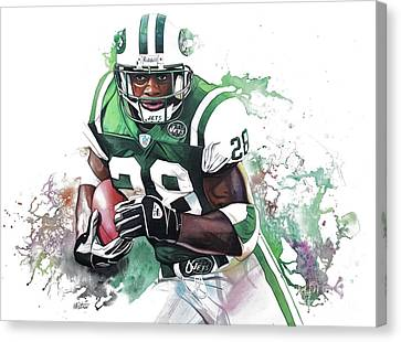 Jet Set Canvas Print - Curtis Martin New York Jets  by Michael Pattison