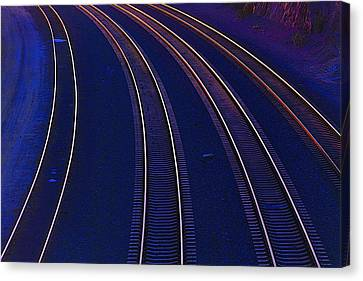 Curving Railroad Tracks Canvas Print by Garry Gay