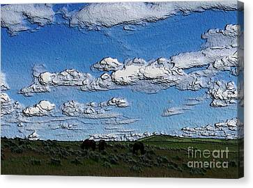 Canvas Print featuring the photograph Custer's Horses 1 by Erica Hanel