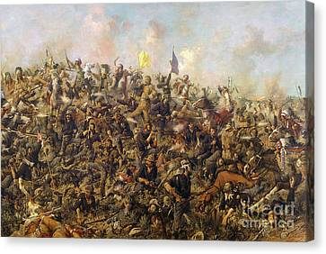 Custer's Last Stand From The Battle Of Little Bighorn Canvas Print by Edgar Samuel Paxson