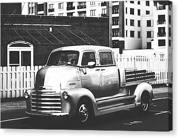 Canvas Print featuring the photograph Custom Chevy Asbury Park Nj Black And White by Terry DeLuco