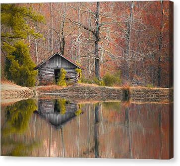 Custom Crop - Cabin By The Lake Canvas Print by Shelby  Young