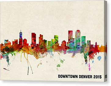 Custom Denver Skyline 2015 Canvas Print by Michael Tompsett