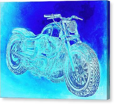 Abstract Digital Canvas Print - Custom Harley Davidson - Blue Ice Abstract by Scott D Van Osdol
