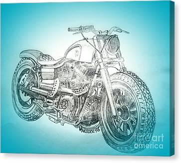 Abstract Digital Canvas Print - Custom Harley Davidson - Blue Spotlight Abstract by Scott D Van Osdol