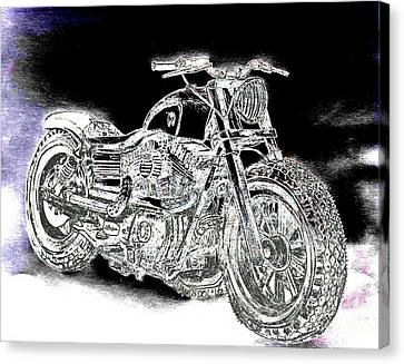 Abstract Digital Canvas Print - Custom Harley Davidson - Night Streets Abstract by Scott D Van Osdol