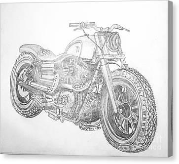 Abstract Digital Canvas Print - Custom Harley Davidson - Original Graphite Sketch by Scott D Van Osdol