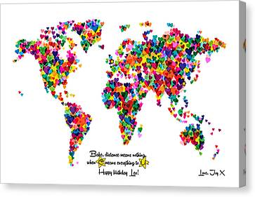 Custom World Map For Joy Canvas Print