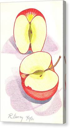 Canvas Print featuring the drawing Cut Apple by Rod Ismay