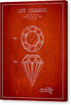 Necklace Canvas Print - Cut Diamond Patent From 1873 - Red by Aged Pixel