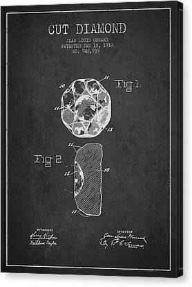 Cut Diamond Patent From 1910 - Charcoal Canvas Print by Aged Pixel