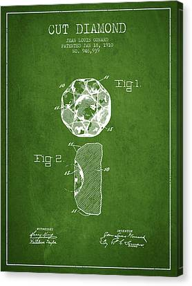 Cut Diamond Patent From 1910 - Green Canvas Print by Aged Pixel