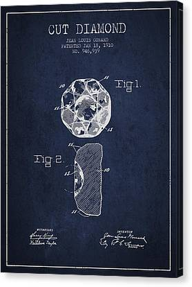 Cut Diamond Patent From 1910 - Navy Blue Canvas Print by Aged Pixel