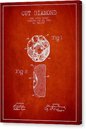 Cut Diamond Patent From 1910 - Red Canvas Print by Aged Pixel