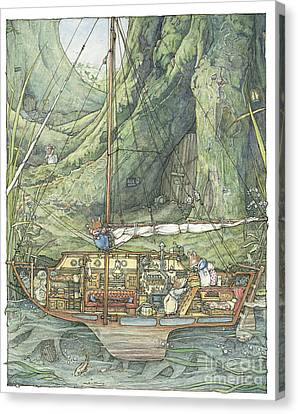 Countryside Canvas Print - Cutaway Of Dustys Boat by Brambly Hedge