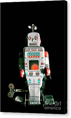 Cute 1970s Robot On Black Background Canvas Print