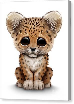 Cute Baby Leopard Cub Canvas Print by Jeff Bartels