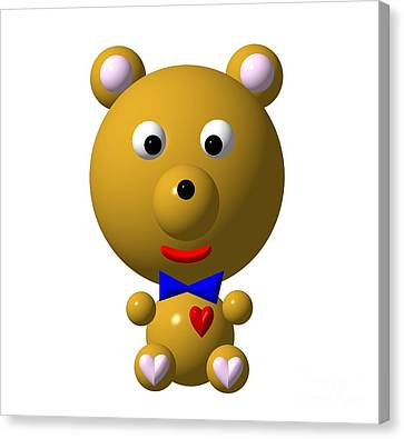 Cute Bear With Bow Tie Canvas Print