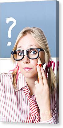 Cute Blond Girl In Glasses Asking Big Question Canvas Print