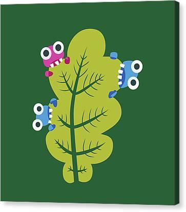 Cute Bugs Eat Green Leaf Canvas Print