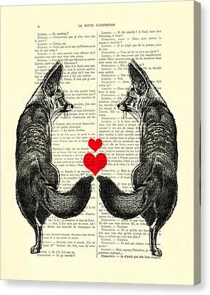 Cute Foxes Canvas Print