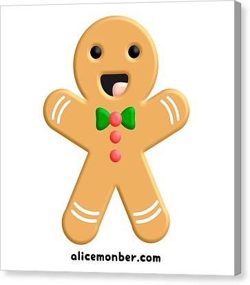 Cute Ginger Cookie Gingerbread Men Canvas Print