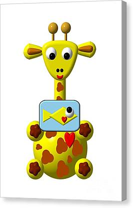 Cute Giraffe With Goldfish Canvas Print