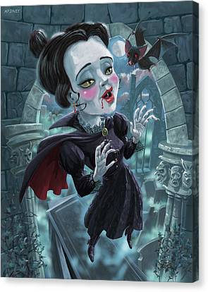 Canvas Print featuring the digital art Cute Gothic Horror Vampire Woman by Martin Davey