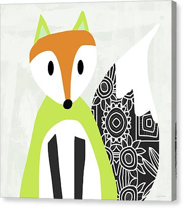 Cute Green And Black Fox- Art By Linda Woods Canvas Print by Linda Woods