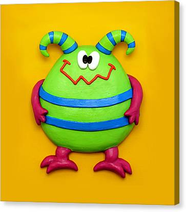Cute Green Monster Canvas Print