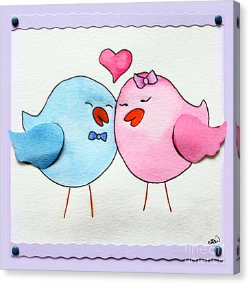 Cute Lovebirds Watercolour Canvas Print