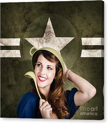 Youthful Canvas Print - Cute Military Pin-up Woman On Army Star Background by Jorgo Photography - Wall Art Gallery
