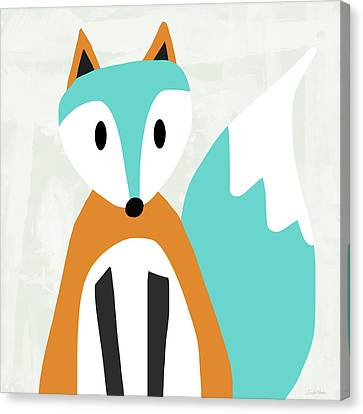 Cute Orange And Blue Fox- Art By Linda Woods Canvas Print by Linda Woods