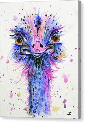 Cute Ostrich Canvas Print by Zaira Dzhaubaeva