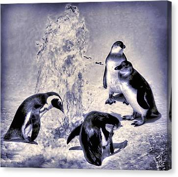 Cute Penguins Canvas Print by Pennie  McCracken