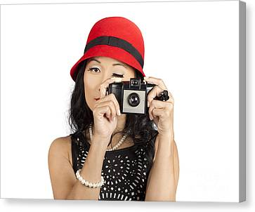 Cute Pin Up Asian Lady Taking Photo With Camera Canvas Print by Jorgo Photography - Wall Art Gallery