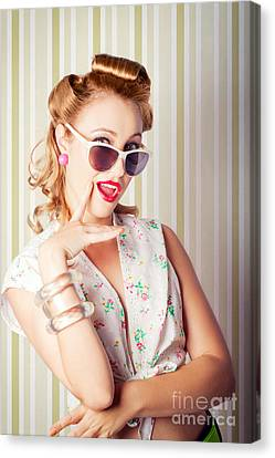 Cute Pinup Fashion Girl With Surprised Expression Canvas Print