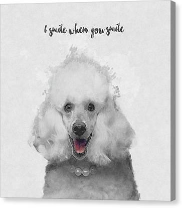 Cute Poodle Art Canvas Print by BONB Creative