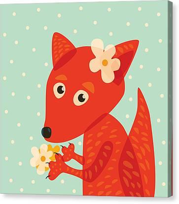 Cute Pretty Fox With Flowers Canvas Print