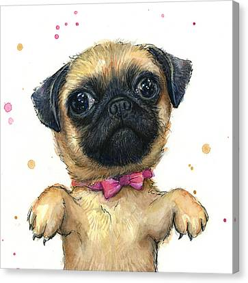 Cute Pug Puppy Canvas Print by Olga Shvartsur