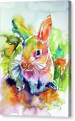 Canvas Print featuring the painting Cute Rabbit by Kovacs Anna Brigitta