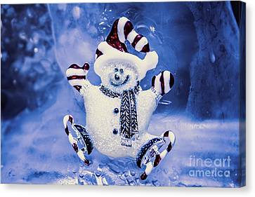Gloves Canvas Print - Cute Snowman In Ice Skates by Jorgo Photography - Wall Art Gallery