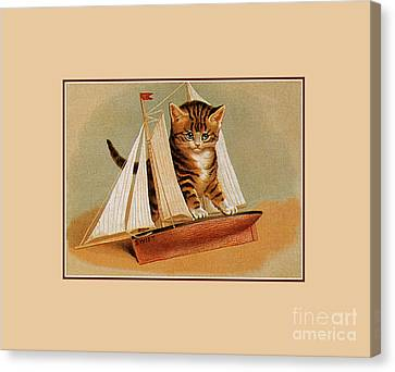 Cute Victorian Kitten, Wooden Toy Ship Canvas Print
