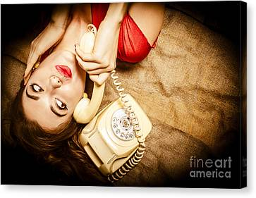 Cute Vintage Pin Up Girl Making Telephone Call Canvas Print by Jorgo Photography - Wall Art Gallery